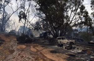 The remains of a house and car can be seen after a bushfire destroyed them at Cudlee Creek in South Australia